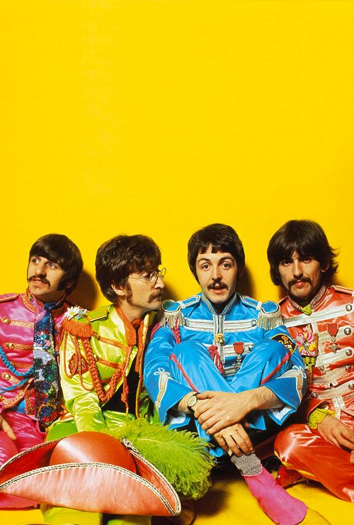 "The Beatles. Sgt. Pepper's Lonely Hearts Club Band shot for inside cover of the original album. / THE ONLY THING I HATE ABOUT THE BEATLES IS THE ""GOOFY-ASS"" PERIOD THEY WENT THROUGH DRESSING UP AND TAKING STUPID PICS AND MAKING THAT STUPID MOVIE~ BUT GEORGE LOOKS SO FINE HERE (AS USUAL) HAD TO PIN IT, YA KNOW?  ♥"
