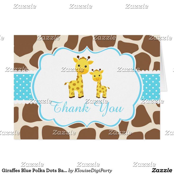 Giraffes Blue Polka Dots Baby Shower Thank You Card