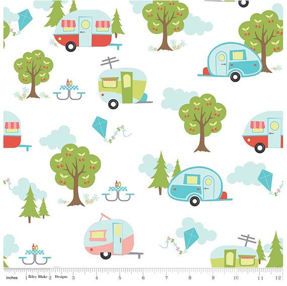 Glamping fabric, Fabricshoppe GlamperLicious fabric, Camping Camper Aqua Fabric, Camp Hike Vintage Camper Riley Blake, Glamper Main in White