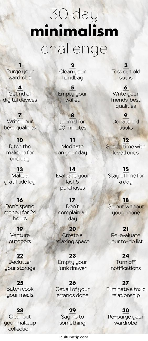 The 30 Day Minimalism Challenge - madness. I'm no minimalist but I have done these