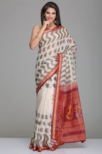 Off-White Pochampally Silk Cotton Saree With Brown Pattern And Maroon & Gold Zari Border And Maroon Pallu With Paisley Motifs