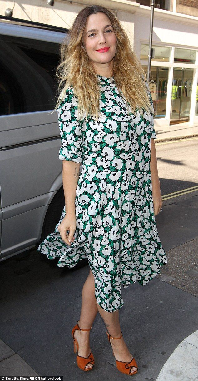 Boho queen: Drew Barrymore looked chic on Thursday as she stepped out in London...