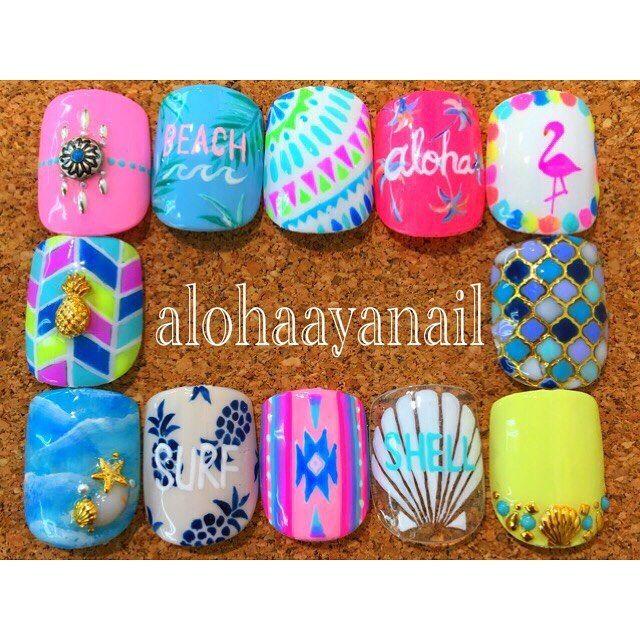 WEBSTA @ alohaaya26 - foot nail*#ネイル#nail#nails#nailart#foot#footnail#フットネイル#shell#aloha#beach#surf#palmtree#pineapple#シェル#アロハ#ビーチ#サーフ#ヤシの木#パイナップル#フラミンゴ#ネイティブ柄#タイル柄#starfish#ヒトデ