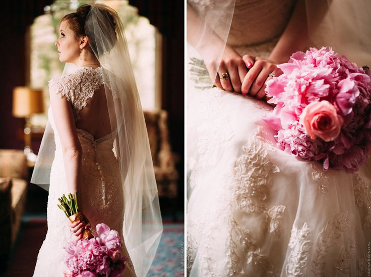 bride with gorgeous pink bouquet, lace wedding dress and ultra long veil