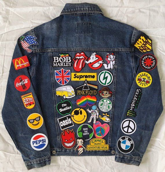 Patched Denim  Patch Jean Jacket  Reworked Vintage Jean Jacket Leather Collar with Patches  Upcycled Custom Jacket Men Size S