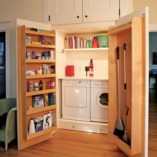 Rangement malinThe Doors, Cleaning Closet, Laundry Area, Laundry Rooms, Laundry Closets, Laundry Nook, Small Spaces, Cleaning Supplies, Storage Ideas
