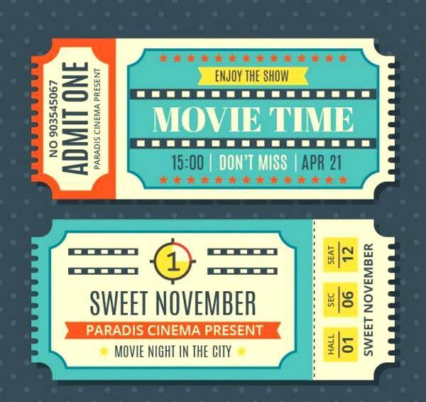 Vintage Movie Ticket Template Old Fashioned Stubs Movie Ticket