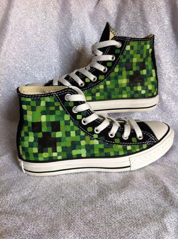 Mine Craft Custom Converse on Etsy, $75.00