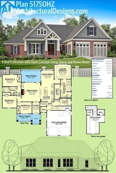 Architectural Designs Craftsman House Plan 51750HZ has an open concept floor plan and a bonus room over the garage giving you expansion possibilities. Ready when you are. Where do YOU want to build?