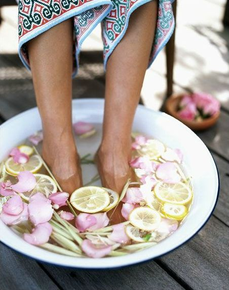 home spa with rose petals and lemon