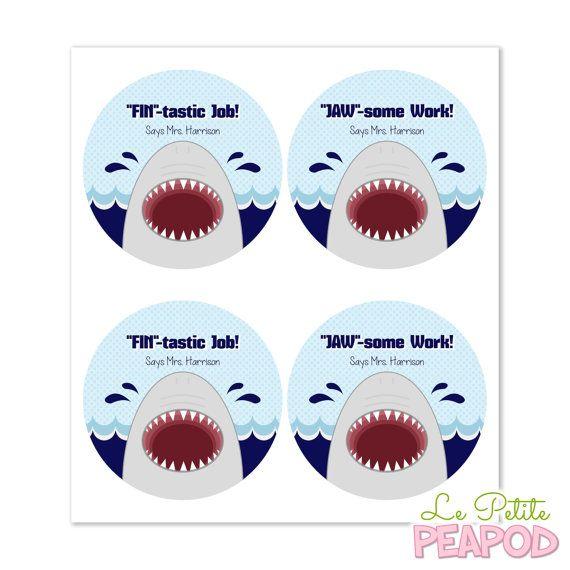 Shark Teacher Stickers  2 Round Stickers  Round by LePetitePeaPod - cute teacher gift