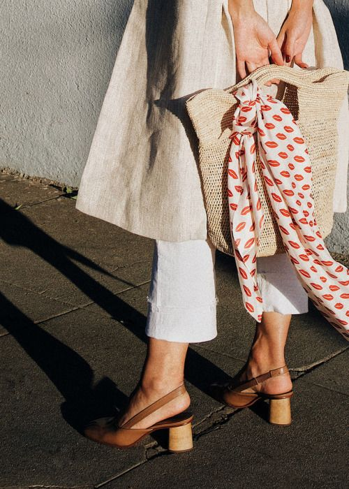 scarf and straw tote