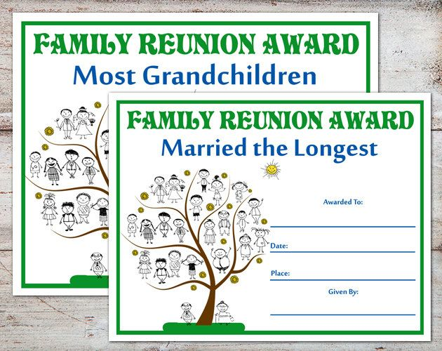 Family Reunion Awards Certificates Parties