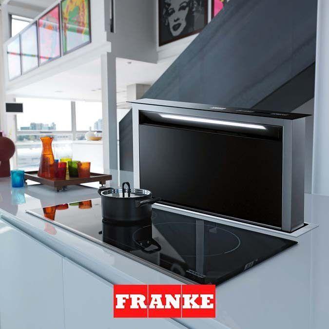Modernin ja laadukkaan Franke Dawn -liesituulettimen saa napin painalluksella esiin ja takaisin piiloon #franke #dawn #liesituuletin #keittiö #keittiökalusteet #yritysmyynti #tukkumyynti #helakeskus #design