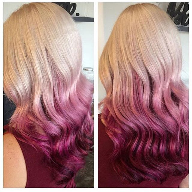 Blonde with cranberry pink ombre dip-dyed hair Credits to come hotonbeauty.com