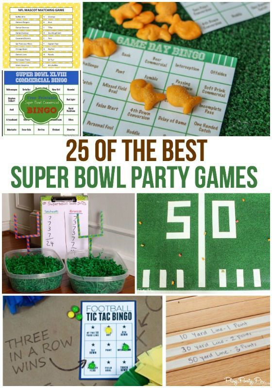 25 of the best Super Bowl party games out there from printable bingo cards to games that get your guests moving during halftime!