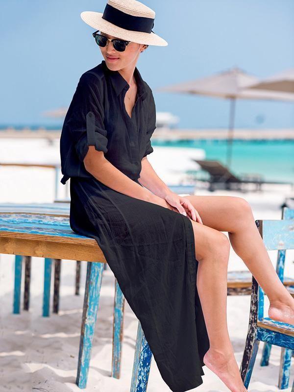 e9c3644887 Chiffon Shirt Collar Button Front Bandage Maxi Dress Cover-Ups –  chicbohodress