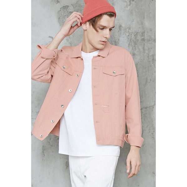 Forever21 Distressed Jean Jacket (87.300 COP) ❤ liked on Polyvore featuring men's fashion, men's clothing, men's outerwear, men's jackets, pink, mens pink jacket, mens leather sleeve denim jacket, mens distressed leather jacket, mens distressed denim jacket and mens short sleeve jacket