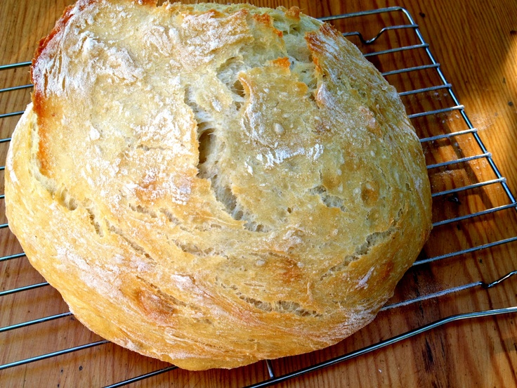 No knead crusty bread made in a glazed cast iron pot. Very easy and delicious. I make this with 1/2 whole wheat flour and 1/2 white flour.