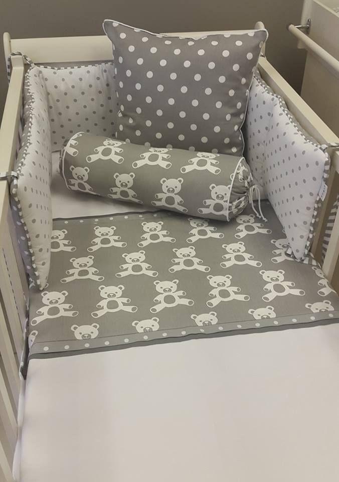 Our #TeddyTheme in #GreyandWhite is perfect for any #NeutralNursery!   #BabyBedding #BabyLinen
