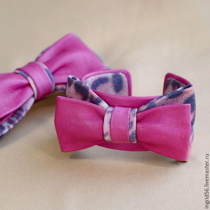 Купить Браслет из кожи Бантик Розовый леопард - авторские украшения, авторский…