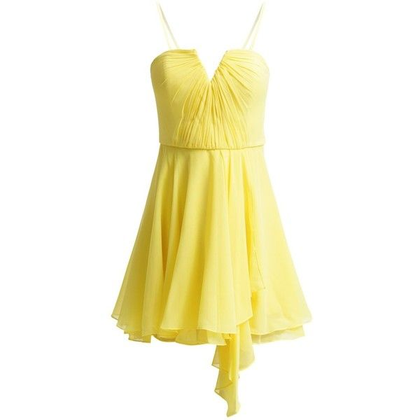 New Look Cocktail dress / Party dress ($37) ❤ liked on Polyvore featuring dresses, short dresses, yellow, mini party dresses, short sleeve dress, yellow cocktail dress, short sleeve cocktail dresses and strapless cocktail dresses