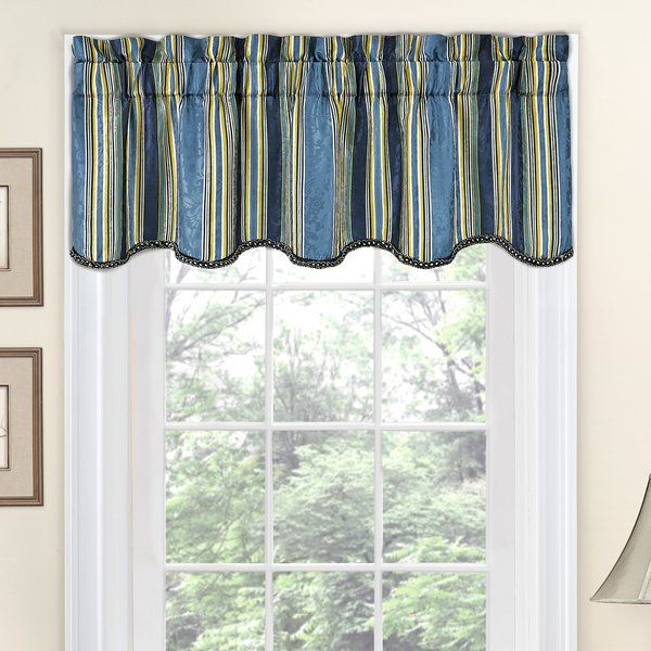 Refresh any room in your home with classically elegant window treatments by Traditions by Waverly. This beautiful traditional valance features a regal stripe pattern over a damask jacquard fabric. Hang panels and valance on standard or decorative curtain rod. Header adds decorative flair.