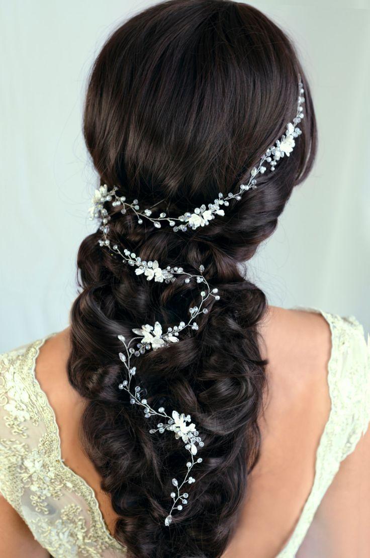 Bridal Hair Vine Wedding hair vine Flower hair vine Long hair vine Gold Pearl hair vine Bohemian bridal headpiece by TopGracia