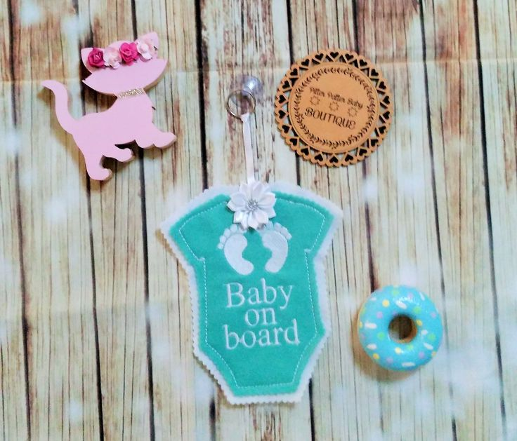White and Mint Colour Baby on Board car window Sign, Felt Machine embroidered Car sign, Car Accessories, Car signs, Baby On Board by PPbabyboutique on Etsy