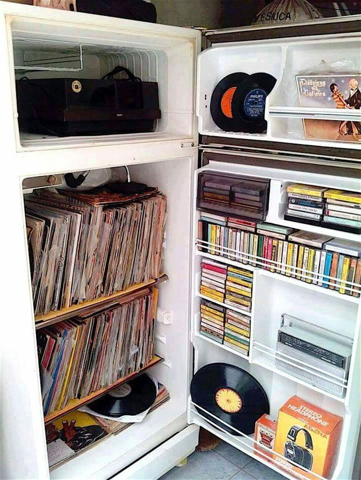 What's in your fridge? We have a collection of vintage vinyls,cassettes, headphones, and music.