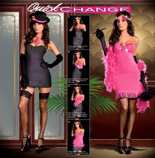 ublime costume 2 en 1 ! Changez de costume en moins de 2 minutes !   Comprend une robe réversible, 1 chapeau, un tour de cou cravate, un tour de tête rose avec fleur qui peut également se mettre sur le chapeau, fausse cigarette.  Bas, mitaine et boa non inclus.