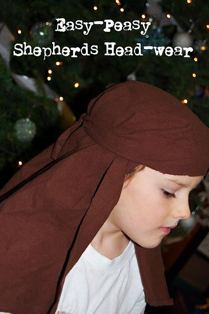 Shepherd's headwear from pillowcase tutorial for nativity costume