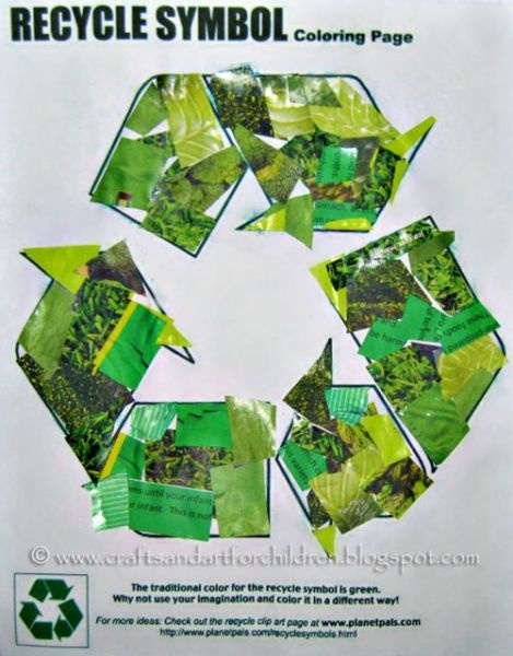 Decorate a recycle symbol using recycled material
