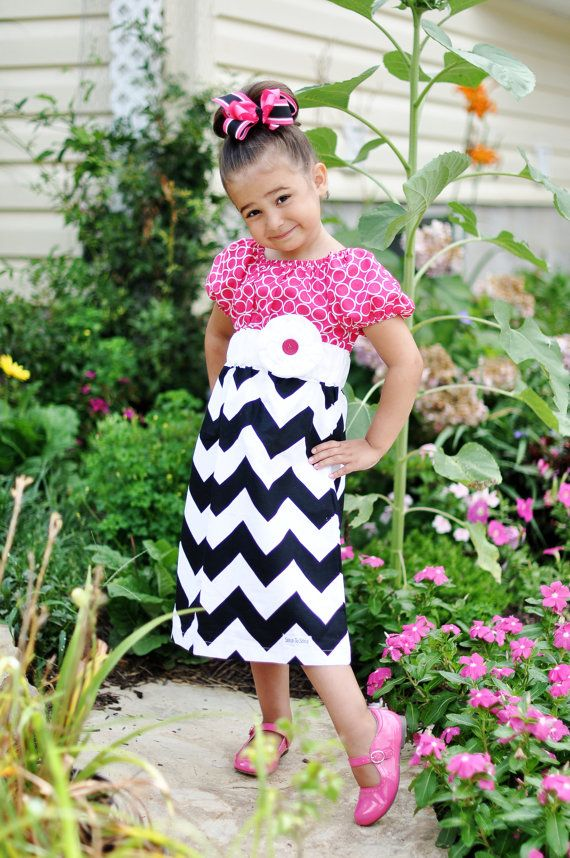 Girls Pink White and Black Chevron Dress with Removable Flower (sizes 6M to 6)