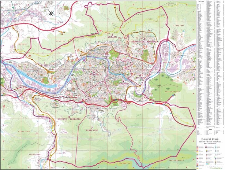 Large detailed tourist map of Bilbao Maps Pinterest Large