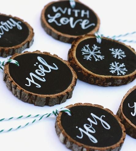 Chalk-art wood slice gift-tags ~ could be used for many more holiday decor ideas!!!