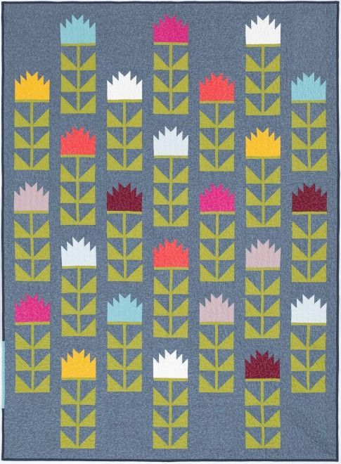 Thistle quilt designed by Elizabeth Hartman. Features Essex and Essex Yarn Dyed.: