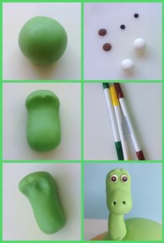 Use your hands to make a smooth dinosaur head, and add Arlo's face with coloured fondant
