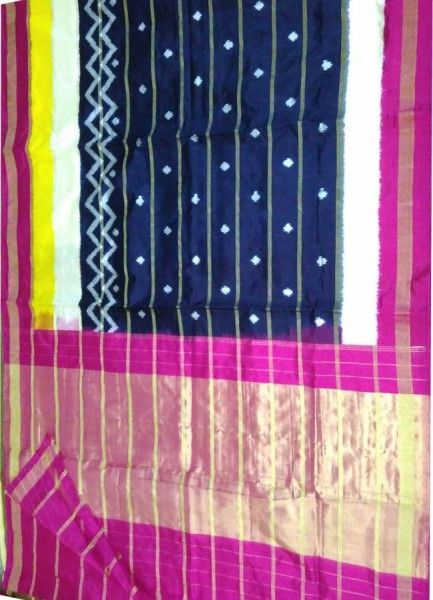 ikat black color jari saree