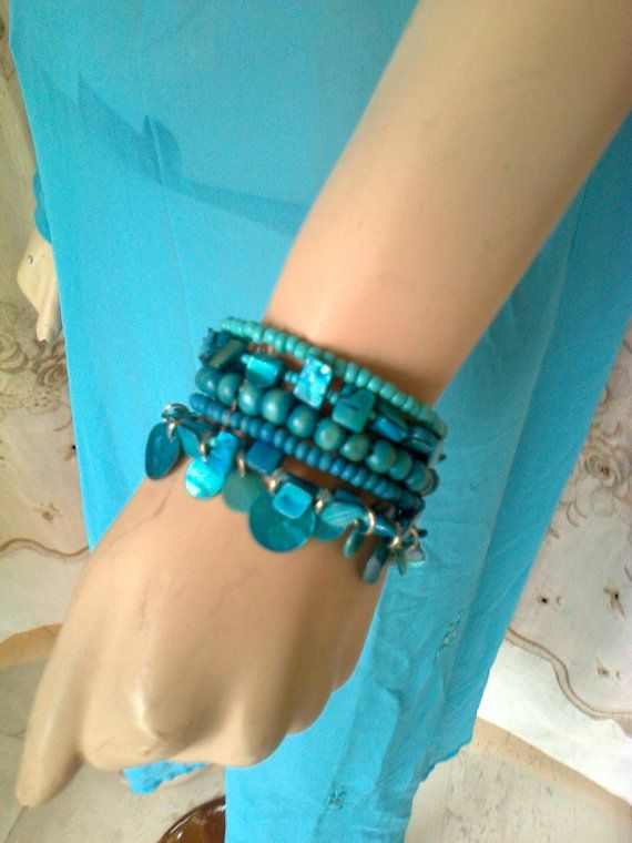 Blue turquoise handmade bead and mother of pearls by Lionsoul, €20.00 and now lower price for few days only