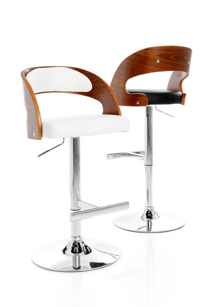 Chicago - Höj- och sänkbar barstol med mjukstoppad sits i konstläder och eucalyptusträ m valnötsfinish , underrede i kromat stål.