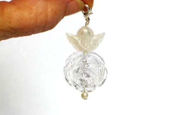 Engel Schmuck Charms Anhänger mit Rosen Perle von JewelsbyLonasART