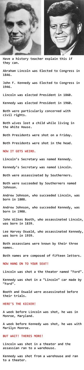 Lincoln Vs Kennedy: Coincidences I Think Not- Always thought this was interesting in high school. One of very few history items I can seem to remember.