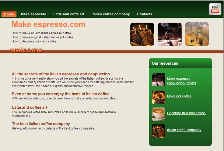 Information about italian espresso and moka pot coffee, latte art and italian coffee company