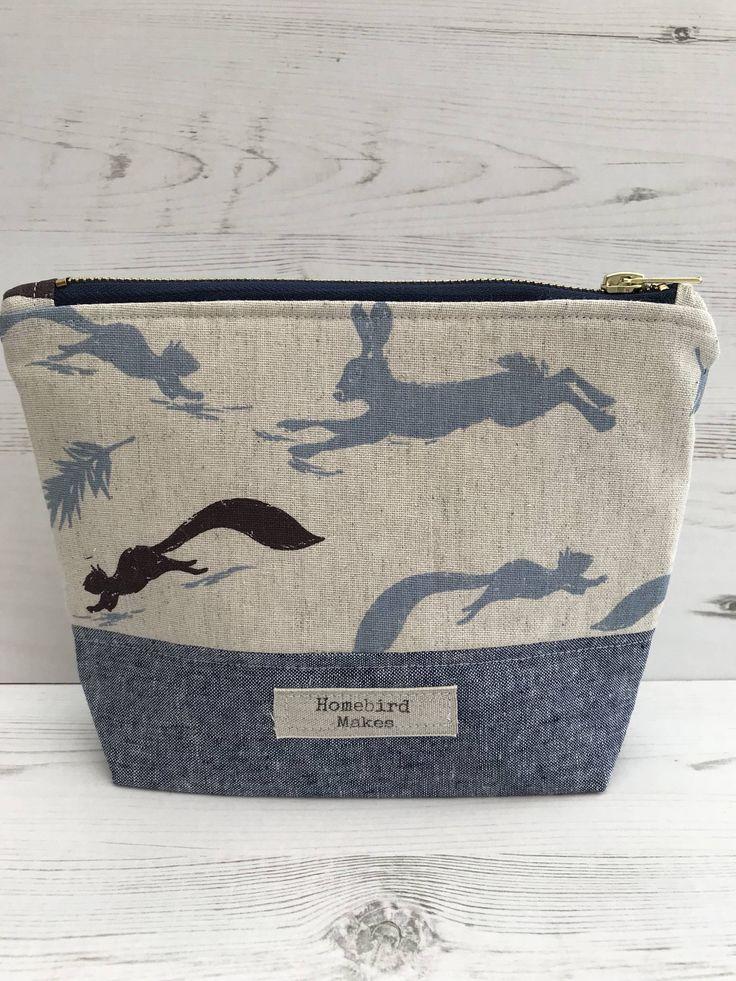 Cotton bag, Project bag, Leaping Animal fabric bag, Cosmetic bag, Make up bag, Knitting bag, Hobby bag, Storage bag, Zippered bag