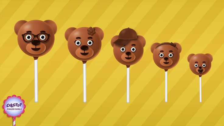 The Finger Family Bear Cake Pop Family Nursery Rhyme | Cake Pop Finger Family Songs