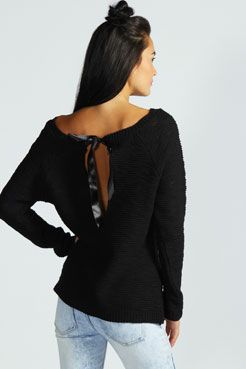 Alicia Ribbon Bow Back Jumper at boohoo.com