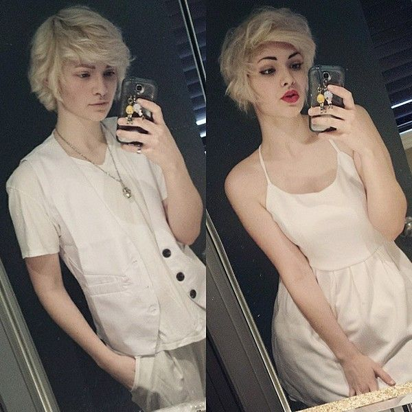 "oliver/trip on Instagram: ""me vs. me in drag ?"" ❤ liked on Polyvore featuring people"