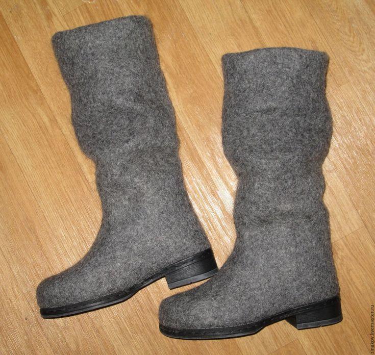 """Купить Валяные сапожки """"Серый меланж"""" - серый, валяные сапожки, валяные сапоги"""