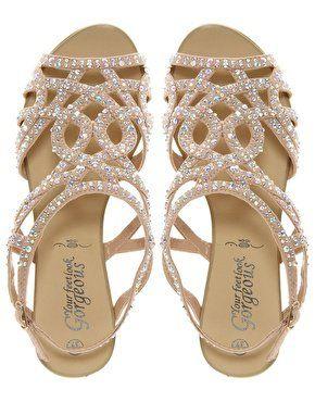 New Look Fabulous Diamante Trim Flat Sandal at asos.com